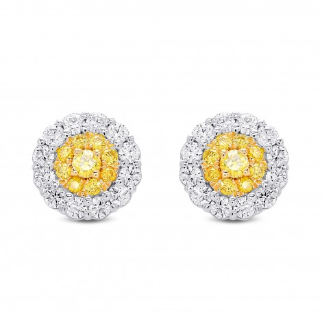Fancy Intense Yellow  Round Brilliant Double Halo Diamond Earrings, SKU 385015 (0.88Ct TW)