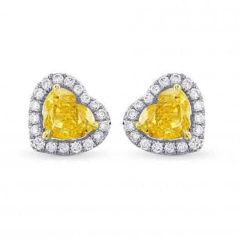 Fancy Vivid Yellow Heart Diamond Halo Earrings, SKU 385549 (0.86Ct TW)