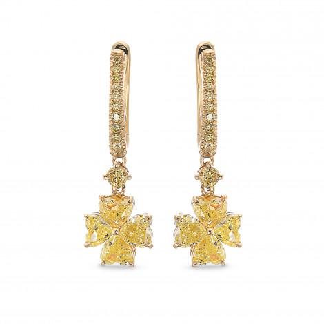 Fancy Yellow Heart shape Drop Diamond Earrings, SKU 385589 (2.83Ct TW)