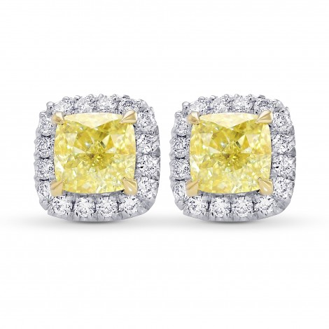 Fancy Yellow Cushion Halo Diamond Earrings, SKU 385633 (1.40Ct TW)