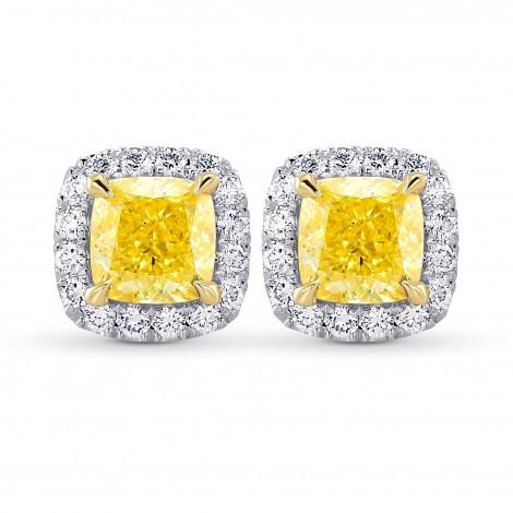 Fancy Intense Yellow Cushion Halo Diamond Earrings, SKU 385644 (1.74Ct TW)