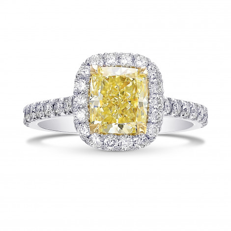Fancy Yellow Cushion Halo Diamond Ring, ARTIKELNUMMER 385645 (2,02 Karat TW)