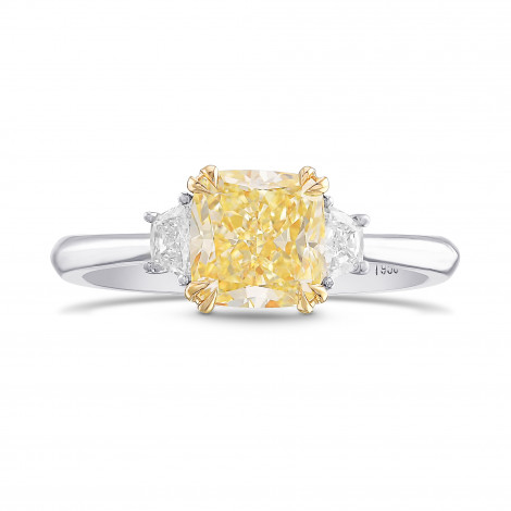 Fancy Yellow Cushion 3 Stone Ring, ARTIKELNUMMER 385672 (1,74 Karat TW)