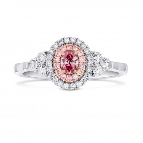 Fancy Vivid Purplish Pink Oval Argyle Diamond Double Halo Side-stone Ring, SKU 386429 (0.56Ct TW)