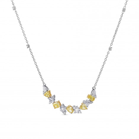 Fancy Yellow and Collection Mix Shape Diamond Necklace, SKU 386997 (2.80Ct TW)