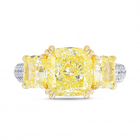 Fancy Light Yellow Cushion 3 Stones Diamond Ring, SKU 387257 (5.47Ct TW)