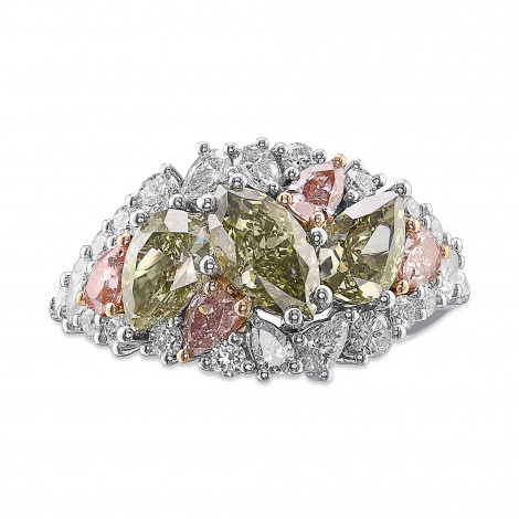 Extraordinary Mix Shape and Color Diamond Bombe Ring, SKU 388230 (3.07Ct TW)