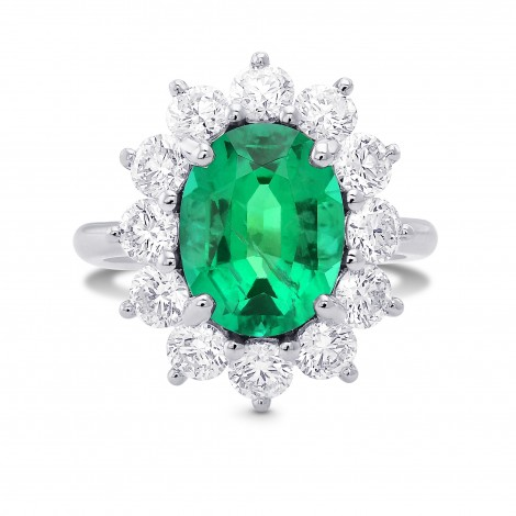 Oval Green Emerald and Diamond Halo Ring, SKU 388524 (4.88Ct TW)