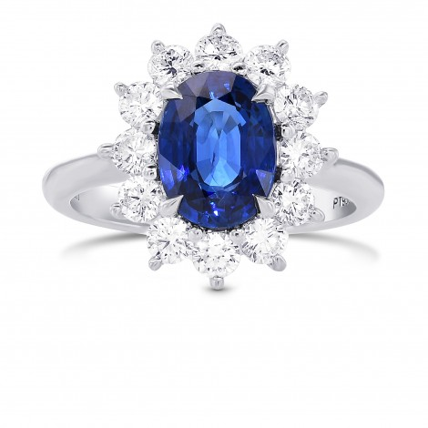 Blue Sapphire Oval and Diamond Halo Ring, SKU 388525 (3.33Ct TW)