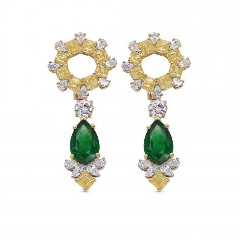 Extraordinary Green Emerald and Diamond Halo Drop Earrings, SKU 390278 (12.70Ct TW)