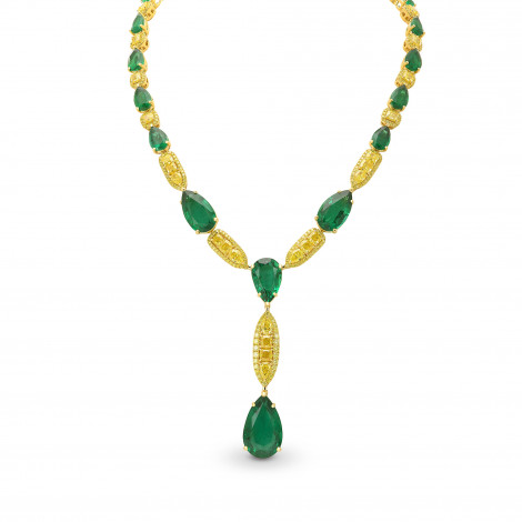 Spectacular Emerald and Fancy Vivid Yellow Diamond Necklace , SKU 390868 (80.53Ct TW)