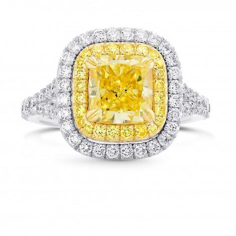 Fancy Intense Yellow Cushion Diamond Double Halo Ring, SKU 393250 (3.02Ct TW)