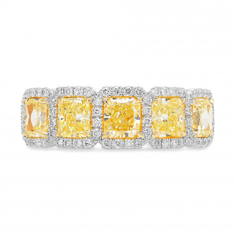 Fancy Light Yellow Radiant Diamond 5 Stone Band Ring, SKU 393810 (2.32Ct TW)