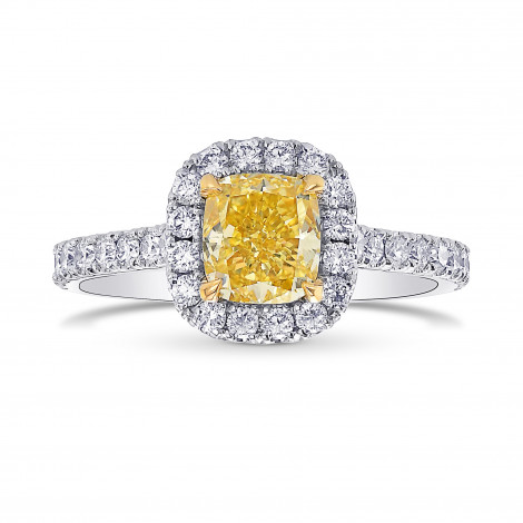 Fancy Vivid Yellow Cushion Diamond Halo Ring, SKU 397354 (1.54Ct TW)