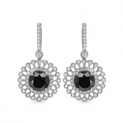 Natural Fancy  Black Diamond Filigree Halo Drop Earrings, SKU 397808 (4.89Ct TW)