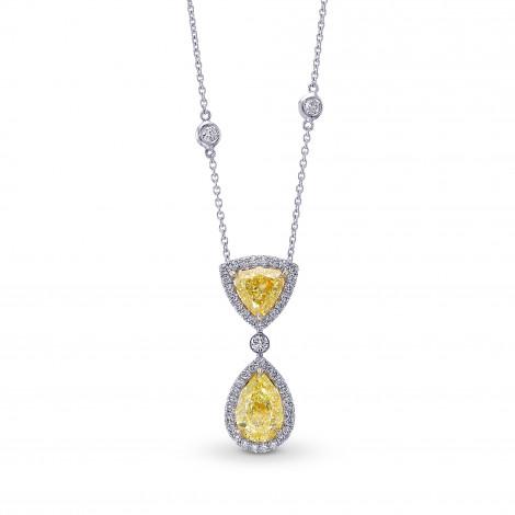 Fancy Light Yellow Pear and Triangle Drop Halo Diamond Pendant., ARTIKELNUMMER 398306 (4,12 Karat TW)