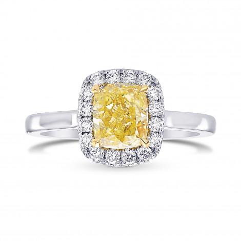 Fancy Yellow Cushion Diamond Halo Ring, SKU 398958 (1.52Ct TW)