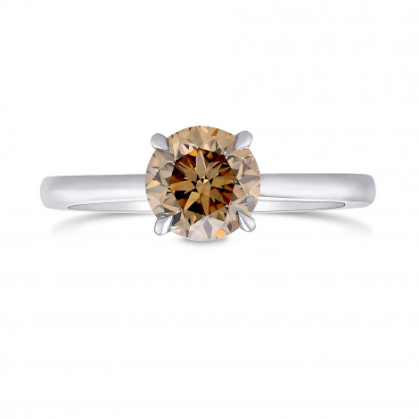 Fancy Yellowish Brown Round Diamond Solitaire Ring, SKU 400093 (1.00Ct)