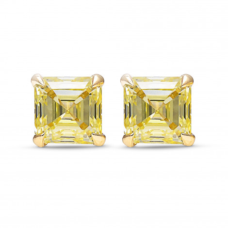 Fancy Yellow Asscher Cut Diamond Stud Earrings, SKU 402707 (1.06Ct TW)