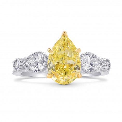 Pear Accent Side-stone Diamond Ring Setting with Milgrain, SKU 40430S