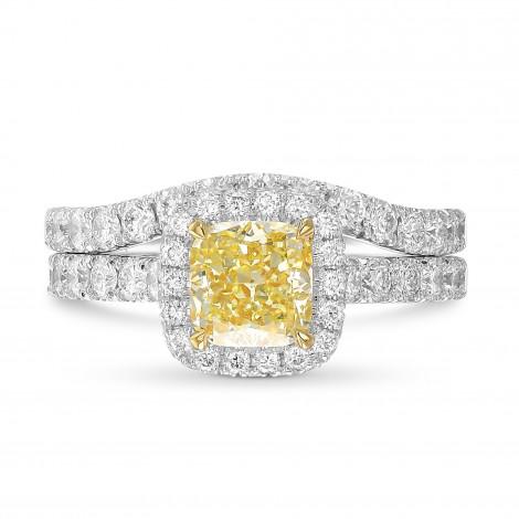 Fancy Light Yellow Cushion Halo Diamond Ring Set, SKU 404974 (2.16Ct TW)