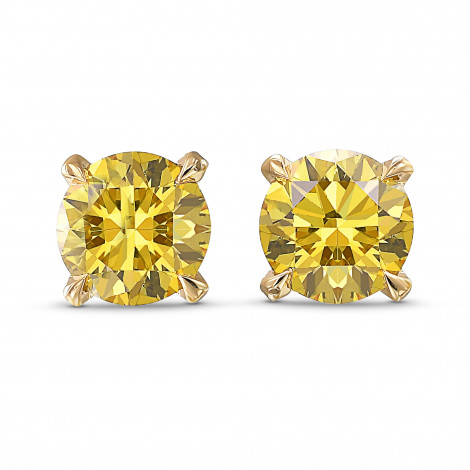Fancy Deep Yellow Round Stud Earrings, SKU 406243 (1.22Ct TW)