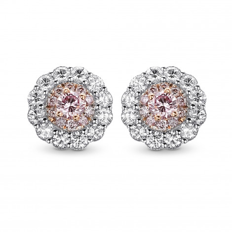 Fancy intense pink and white diamond flower stud earrings mounted in white and rose gold., SKU 409482 (0.53Ct TW)