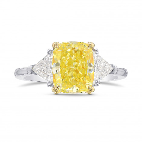 Fancy Intense Yellow Cushion 3 Stone Diamond Ring, SKU 415267 (3.31Ct TW)