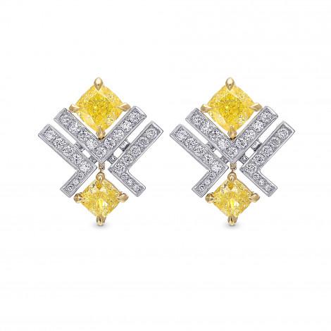 Fancy Yellow Cushion and Pave Diamond Stud Earrings, SKU 416542 (2.22Ct TW)
