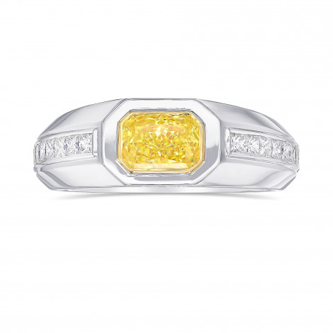 Fancy Yellow Radiant Diamond Men's Ring, SKU 416543 (1.78Ct TW)