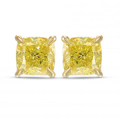 Fancy Intense Yellow Cushion Stud Earrings, SKU 416631 (2.05Ct TW)