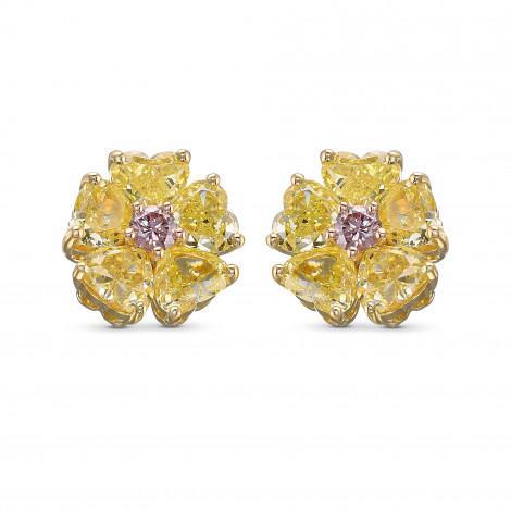 Fancy Yellow Heart Couture Diamond Stud Earrings, SKU 418210 (2.75Ct TW)