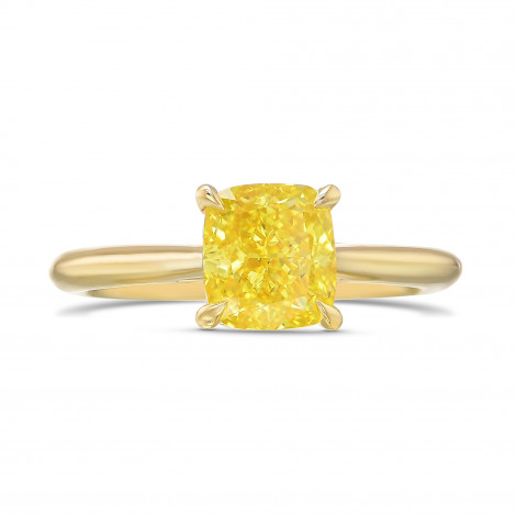 Fancy Vivid Yellow Cushion Diamond Solitaire Ring, SKU 418823 (1.37Ct)