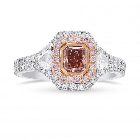 Argyle Fancy Deep Orangy Pink Radiant Diamond Double Halo Ring, SKU 421195 (1.31Ct TW)