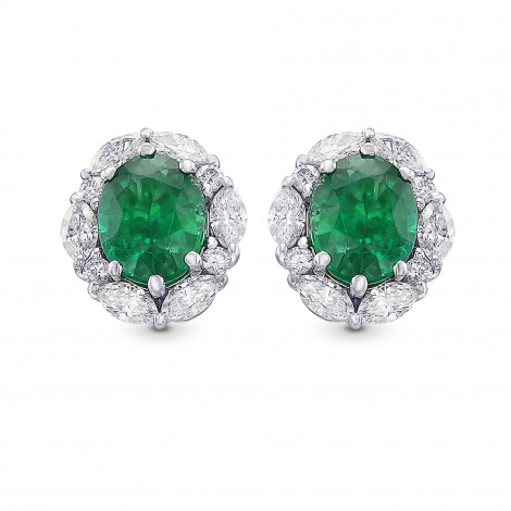 Extraordinary Oval Emerald and Diamond Halo Earrings, SKU 424350 (3.19Ct TW)