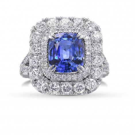 Cornflower Blue Sapphire Cushion and Diamond  Double Halo Ring, SKU 425324 (4.80Ct TW)