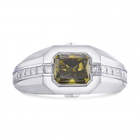 Fancy Dark Brown Greenish Yellow Chameleon Radiant Diamond Men's Ring, SKU 430697 (2.66Ct TW)