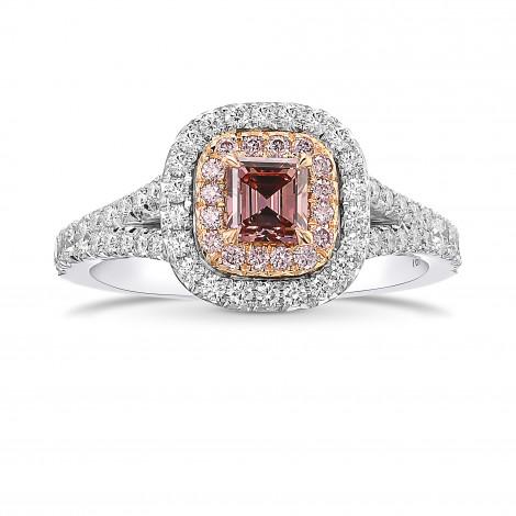 Fancy Intense Orangy Pink Double Halo Diamond Ring, SKU 431586 (0.87Ct TW)