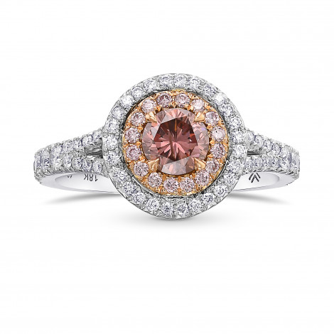 Fancy Deep Brownish Orangy Pink Round Double Halo Diamond Ring, SKU 431588 (0.87Ct TW)