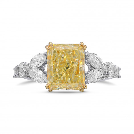 Light Yellow Y-Z Radiant Diamond Side Stone Ring, SKU 434614 (4.00Ct TW)