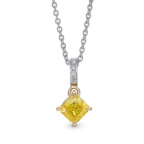 Fancy Vivid Yellow Diamond Radiant Drop Pendant, SKU 435849 (0.75Ct TW)