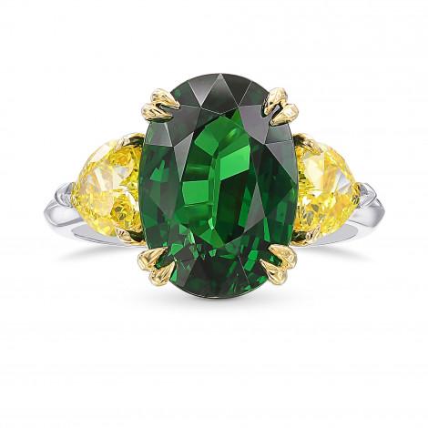 Oval Vivid Green Tsavorite and Fancy Vivid Yellow Diamond 3 Stones Ring, SKU 436643 (7.11Ct TW)