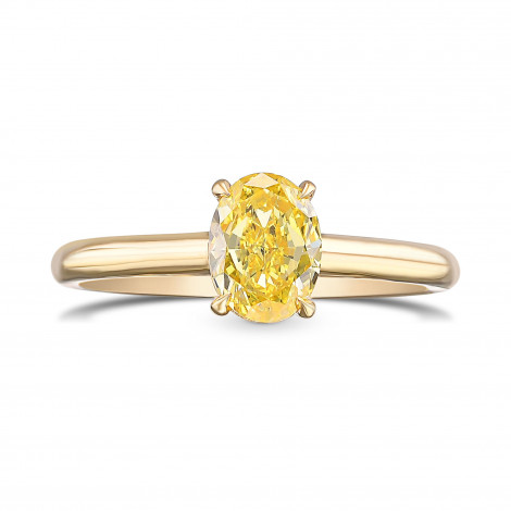 Fancy Vivid Yellow Oval Solitaire Diamond Ring, SKU 442364 (0.91Ct)