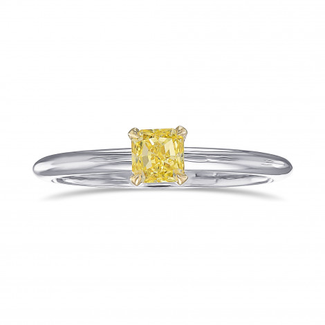 Fancy Intense Yellow Radiant Solitaire Ring, SKU 443630 (0.37Ct)