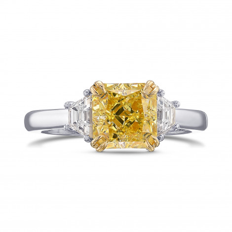 Fancy Intense Yellow Radiant and Trapezoid 3-stone Diamond Ring, SKU 444996 (1.88Ct TW)