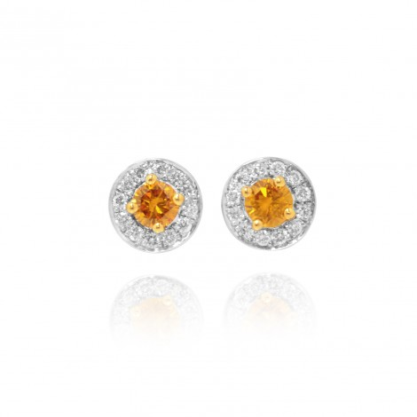 Fancy Vivid Orange Yellow & White Millgrain Pave Diamond Earrings, SKU 47280 (0.33Ct TW)