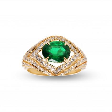 Emerald and Diamond Designer Ring, SKU 49141 (2.56Ct TW)