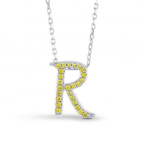"Fancy Vivid Yellow ""R"" Letter pendant set in 0.20ct Brilliant Pave and 18K Gold, ARTIKELNUMMER 52398 (0,20 Karat TW)"