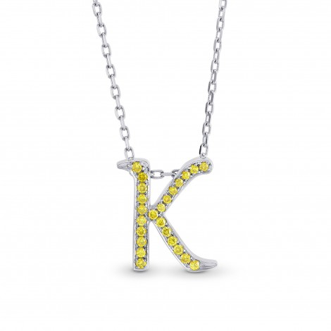 "Fancy Vivid Yellow Letter ""K"" pendant set in Brilliant Pave and 18K Gold (Letters A-Z available), SKU 52401 (0.12Ct TW)"