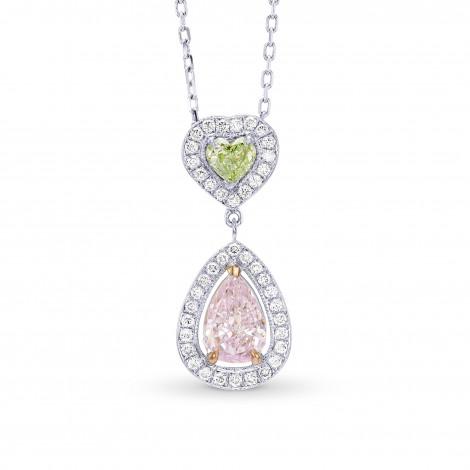 Very Light Pink Pear and Fancy Yellowish Green Heart Diamond Halo Drop Pendant, SKU 56374 (0.91Ct TW)